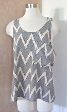 Janette Sleeveless Ivory Blue Dot Print Blouse Large Offset Pocket Size Large