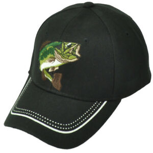 Large Mouth Bass Fishing Fish Hat Cap Black Adjustable Outdoor Camping Sports