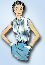 1950s Vintage Simplicity Sewing Pattern 4238 Uncut Misses Easy Blouse Sz 12 30B