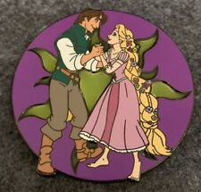 "Rapunzel Flynn Rider 2.5"" Jumbo Disney Fantasy Pin LE 59/100 HTF Stained Glass"