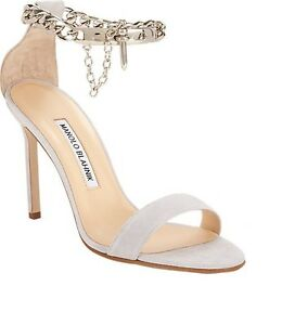 $895 NEW MANOLO BLAHNIK CHAOS CHAIN 105 Dove Grey Ankle SANDALS HEELS SHOES 37