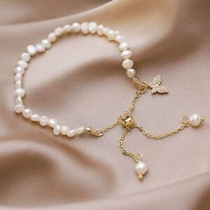 14K Gold Butterfly Irregular Pearl Bracelet Adjustable Bangle Women Jewelry Gift