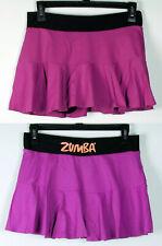 Zumba Fitness Short Stretch Ruffled Purple and Black Skort Skirt M