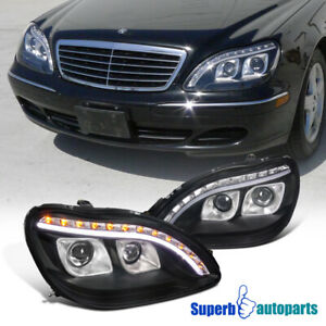 For 1998-2006 Mercedes Benz W220 S320 S420 Projector Black Headlights LED Strip