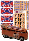 T-1 Drag Bus hot wheels decals General Lee specific size bus and Dairy Delivery