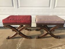 Ethan Allen French Empire Regency Style X-Base Benches