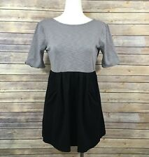Free People FP Beach Mini Flare Dress Gray Black Contrast S Pockets Short Sleeve
