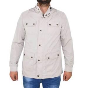 Giubbino estivo uomo art.42765 grigio con bottoni moda elegante comodo impermeab