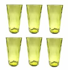 QG 22 oz. Acrylic Plastic Iced Tea Cup Glass Tumbler Set of 6 Clear Light Green