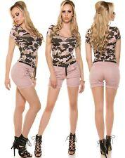 Sexy Shorts Kurze Hose Bermudas Hot Pants Koucla Stretchhose Gürtel rosa XL