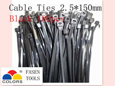 100Pcs Black Electrical Nylon Cable Zip Ties (2.5mm x 150mm) UV Stabilised