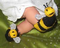 KNITTING INSTRUCTIONS - BABY BUZZY BEE BOOTEES ANIMAL BOOTIES KNITTING PATTERN