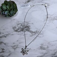 NWT Guess Flower Crystal Rhinestone Adjustable Silver Necklace