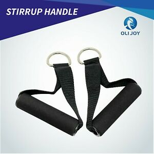 Stirrup Handle Foam Grip With D Ring Cable Pair Gym Attachment Strength Training