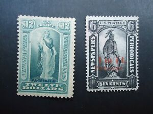 1875 USA REPLICA NEWSPAPERS & PERIODICALS stamps. 6c black & £12 green MNG