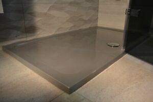 1100 x 900 SILVER GREY Rectangle Stone Slimline Shower Tray 35mm inc Waste
