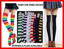 OVER THE KNEE HIGH SOCKS Striped Plain Thigh High Long Womens Rainbow Stocking