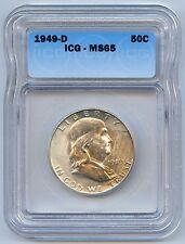 High Grade 1949-D 50C Franklin Silver Half Dollar. ICG Graded MS 65. Lot #2483