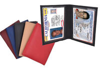 Genuine Leather 2 License Holder Credit Card Bifold ID Wallet MANY COLORS
