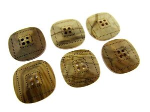 """6 x FOUR HOLE SQUARED """"OLIVE WOOD"""" BUTTONS - LAZER CUT - 2 SIZES AVAILABLE (CW9)"""