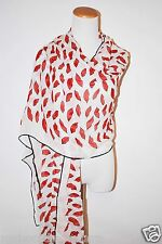 SAINT LAURENT LONG HUGE RED LIPS WHITE SILK OBOLONG ITALY WOMEN SCARF SHAWL