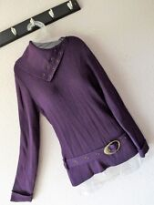New NANCY BOLEN L PURPLE RIBBED TOP + BELT Rayon Knit FITTED TUNIC Cowl Sweater