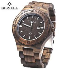 Bewell®️ ZX Mens Walnut Wood Watch Japan Quartz Movement (Vegan Suitable)