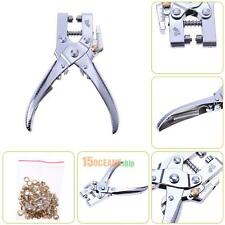 Hole Punch Hand Plier for Leather Strap Belt Watch Band +100pc Eyelet Craft Tool