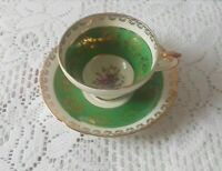 Vintage H&M Sutherland Bone China Tea Cup and Saucer Green & White Gold Trim