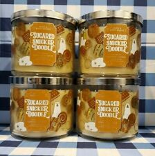 SUGARED SNICKERDOODLE 3 Wick Candle x4 Bath & Body Works White Barn