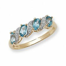 Eternity Ring Blue Topaz and Diamond Yellow Gold Anniversary Band Certificate