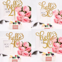 Gold Glitter Hello 21/30/40/50/60 Birthday Cake Topper Party Decor Supplies AU