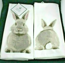 (2) DEBORAH CONNOLLY BUNNY RABBIT KITCHEN DISH TEA TOWELS Coming & Going