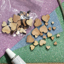 100 Wooden Mini Mixed HEART Embellishments wedding craft card making scrapbook