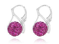Silver Sterling 925 Genuine Leverback Fuchsia Rose Pink Shamballa Ball Earrings