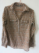 Zara Blouse Ladies' size S Brown Horse Print Sheer Shirt Buttons Casual chic