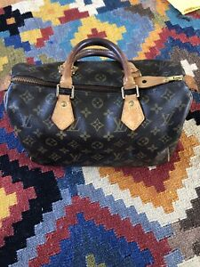 Authentic Womens Louis Vuitton Speedy 30 Handbag Monogram LV Excellent