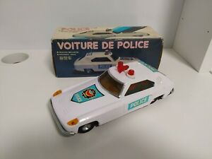 Vintage MF-051 MF051 Police Car Friction Tin Toy - Made in China - Boxed