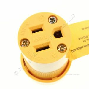 Eagle Nylon Yellow Straight Blade High Visibility Connector 5-15R 15A 125V 3487