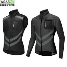 Mens Cycling Rain Jacket Lightweight Water Repellent Reflective Black Wind Coat