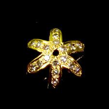10mm 18k Solid Yellow Gold Champagne Diamond Snowflake Bead Cap