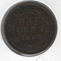 1893 Canada One Cent Coin F-12