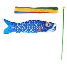 Japanese Windsock Koinobori Koi Nobori NYLON Blue Carp Streamers Kit Flag Set