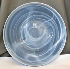 Enormous Light Blue Glass Tray w/ Swirling White - Flat Vertical Walls