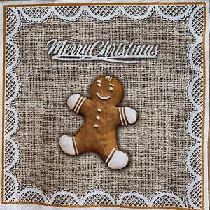 5 x Single Paper Cocktail  Napkins - Decoupage - Christmas Gingerbread Man SC41