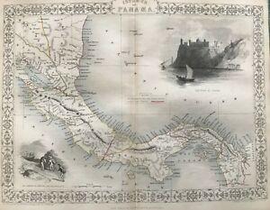 1851 Antique Map; Isthmus of Panama by John Tallis / Rapkin