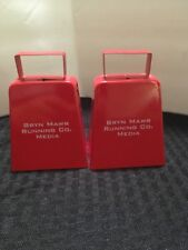 2 Red Metal Cow Bell Noise Makers