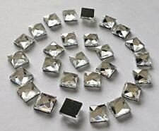 50 ! Hot Fix 10 mm Glass Shisha Mirror Squares to Stick  4 D I Y Card or Fabric