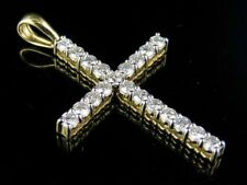 10K Yellow Gold Real Diamond One Row Solitaire Cross Pendant Charm 1 1/2 CT 1.7""
