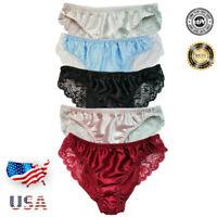 Women's Lace Panties Lingerie 100% Silk Satin Underwear Briefs USA XS S M L XL